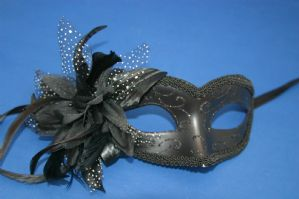 Black Masquerade Mask - Mask with Flower | Masks and Tiaras